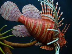 Spotfin Lionfish carving by Ron Bailey Carving, Ocean, Fish, Pets, Animals And Pets, Wood Carvings, Sculpting, Sea, Cut Work