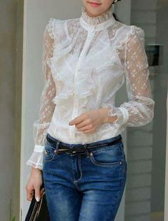 white lace blouse with transparent sleeves and ruffles all over the … Love Fashion, Womens Fashion, Fashion Trends, Luxury Fashion, Lace Dress, Dress Up, Casual Outfits, Cute Outfits, Outfit Trends
