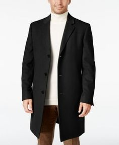 Lauren Ralph Lauren Men's Big & Tall Luther Cashmere-Blend Overcoat - Black 50L