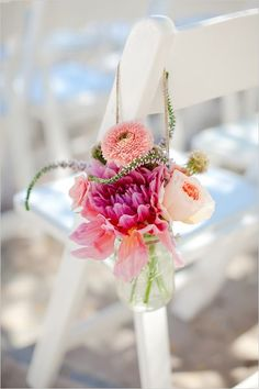colorful flowers in a jar for the wedding aisle decor Wedding Jars, Wedding Ceremony, Church Wedding, Wedding Arches, Reception, Wedding Flower Inspiration, Wedding Flowers, Aisle Flowers, Wedding Dresses