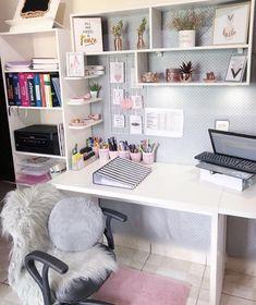 Study Room Decor, Cute Room Decor, Room Ideas Bedroom, Small Room Bedroom, Bedroom Decor, Home Room Design, Home Office Design, Home Office Decor, Aesthetic Room Decor
