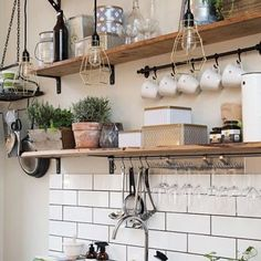 #rustic #timbershelves #frenchcountry #openshelving #storage #kitchen #industrialdesign
