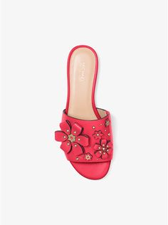 f9ffbd29aeb5 MICHAEL KORS Tara Floral Embellished Leather Slide