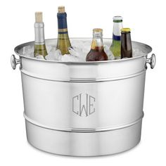 Obsessed with anything with a monogram! Monogrammed Stainless-Steel Beverage Bucket