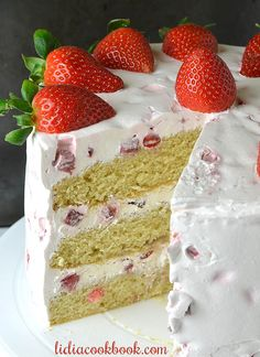 Strawberry Layer Cake - Lidia's Cookbook Strawberry Layer Cakes, Moist Vanilla Cake, How To Make Frosting, Cream Cheese Eggs, Cream Frosting, Cake Toppings, Strawberries And Cream, Vegetarian Cheese, Dessert Recipes