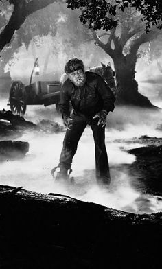 "movie still of Lon Chaney Jr. in ""The Wolfman"" (1941)"