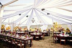 Purple California Summer Wedding Wedding Real Weddings Photos on WeddingWire Long Table Wedding, Summer Wedding, Rainy Wedding, Green Wedding, Tent Decorations, Wedding Decorations, Air Tent, Outdoor Wedding Reception, Outdoor Weddings