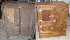 Before and after photos of damaged furniture
