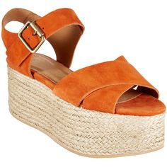 AND/OR Iaera Flatform Sandals (€30) ❤ liked on Polyvore featuring shoes, sandals, orange, leather slip on shoes, flat shoes, orange flat sandals, orange high heel sandals and leather slip on sandals