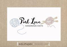 Premade Logo & Watermark // Yarn logo // Knit logo // Knitters logo // Knitting Needles logo // Sewing logo // Wool logo // Handmade logo // by SolipandiDesign