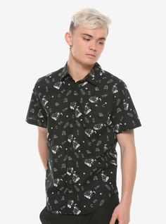 Grim Reaper Skater Woven Button-Up Hot Topic Exclusive Short Sleeve Button Up, Button Up Shirts, The Grim, Grim Reaper, Hot Topic, Cool Shirts, Pop Culture, Men Casual, Skinny