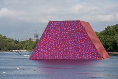 Christo has completed The London Mastaba, a 20-metre-high sculpture floating on London's Serpentine Lake  It will float – freely viewable by the general public – 19 June until 9 September 23, 2018 and is free to visit. More links in this article on this and Christo and Jeanne Claude eight key projects.