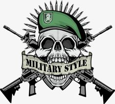 Military Style Skull With Guns Military Art, Military Fashion, Military Style, Indian Army Wallpapers, 480x800 Wallpaper, Military Pictures, Graffiti Lettering, Badge Design, Skull Print