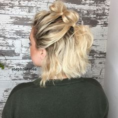A cute and super simple way to dress up short hair. How much do you love this bubble braid look on my girl Tay? #365daysofbraids 358 #stephaniehodges