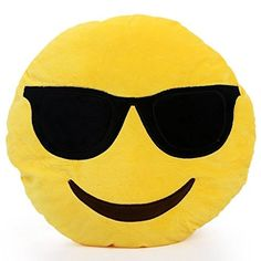 Emoji Authentic Silly Smiley Pillows Emoticon Yellow Round Cushion Pillow Stuffed Plush Soft Toy-emoji sunglasess-trademark of enterpise llc Yellow Pillows, Cute Pillows, Designer Pillow, Pillow Design, Beste Emoji, Smiley Emoticon, Cool Emoji, Emoji Faces, Business Intelligence