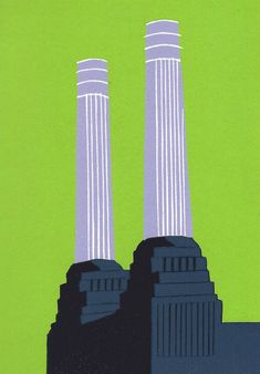 Limited edition linocut Battersea's Chimneys (Charcoal) by contemporary British printmaker Jennie Ing. Borders For Paper, Simple Colors, Linocut Prints, Surface Pattern Design, Urban Landscape, Printmaking, Charcoal, Contemporary, Illustration