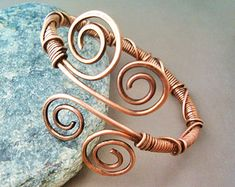 Bracelet Wire Wrapped Hammered Copper - Jewelry wire wrapped jewelry handmade - copper bracelet
