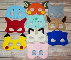 Pokemon Mask set Pretend Play Dress Up by CarriesHairPretties1 on Etsy https://www.etsy.com/listing/458128992/pokemon-mask-set-pretend-play-dress-up
