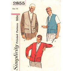 1950s Mens Cardigan and Vest Pattern Simplicity 2855 Button Front Chest 40 Mens Vintage Pattern - product images  of