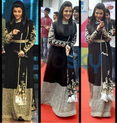 Aishwarya Rai Bachchan is out promoting her much anticipated release, Jazbaa. The star was on the sets of Dance India Dance wearing a Sabyasachi black si Indian Attire, Indian Wear, Indian Designer Outfits, Designer Dresses, Indian Dresses, Indian Outfits, Red Lehenga, Lengha Choli, Sharara