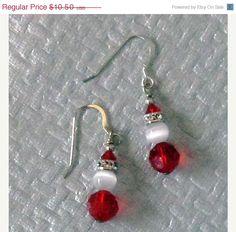 ON SALE Santa Glass Swarovski Crystal Earrings by GlassMystique, $8.92