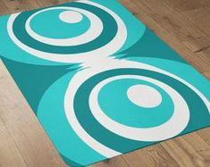 Geometric Modern Area Rug Mid Century Modern Rug | Etsy Mid Century Modern Rugs, Modern Duvet Covers, Polyester Rugs, Pad Design, Modern Curtains, Modern Area Rugs, Modern Carpet, Bold Colors, Mid-century Modern