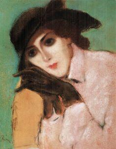 József Rippl-Rónai (Hungarian, 1861-1927), Woman with Black Gloves, c. 1920. Pastel on paper, 53 x 40 cm.