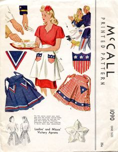 McCall's 1943 Ladies' and Misses' Victory Aprons pattern
