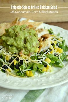 Make flavorful chipotle spice rubbed grilled chicken and then top a salad of lettuce, black beans, corn and guacamole with it for a family friendly meal. Spicy Grilled Chicken, Herb Roasted Chicken, Easy Healthy Recipes, Whole Food Recipes, Easy Chicken Dinner Recipes, Turkey Recipes, Recipes Dinner, Easy Meals, Main Dish Salads