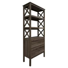 Threshold X-Bookcase 3-Self with Drawers - Grey
