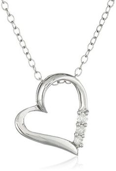 Sterling Silver Three-Stone Diamond Heart Pendant Necklace (1/10 cttw, I-J Color, I2-I3 Clarity), 18″