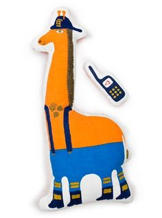 Jonathan Adler giraffe stuffed toy...with a stuffed cell phone. Because what's a giraffe without a cell phone?