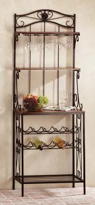 Baker's Style Wine and Glass Rack #34775 by Isis Hobbies and Gifts. $64.57. Country Decor. Open baker's rack design enhances home's decor! This stylish and functional unit has cradles for ten wine bottles, a rack for ten stemmed glasses and three spacious shelves for storage or display. Wood and metal. (Items on rack not included.) Assembly required. 24 in. x 16 in. x 68 in. high.