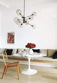 tulip-table-round-carrara-rove-concepts-rove-classics-mid-century-furniture - The world's most private search engine Built In Sofa, Built In Seating, Built Ins, Wall Seating, Dining Nook, Dining Room Design, Nook Table, Dining Table Bench Seat, Dining Tables