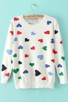 White Long Sleeve Heart Print Loose Sweater 29.33
