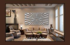 """Casa de arte de pared de Metal grande decoración abstracta escultura moderna contemporánea """"Borde de la luz"""" frío borde Galería por Michele"""