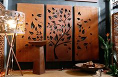 PO Box Designs Tree with Scattered Leaves Design This portrait orientation triple set is intricately designed and laser cut. Laser Cut Screens, Custom Screens, Laser Cut Panels, Gate Design, Leaf Design, Box Design, 3d Cnc, Bare Tree, Plasma Cutting