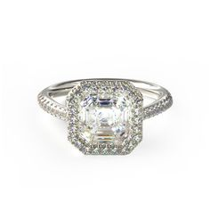 gorgeous white gold tapered halo engagement ring from james allen {love}
