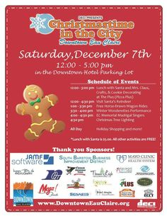 Mark your calendars!  Christmastime in the City is Downtown Eau Claire on Saturday, December 7th from 12:00 -5:00 p.m. in the Downtown hotel parking lot! Join us for lunch with Santa, horse-drawn wagon rides, the lighting of the Christmas tree and much more! #christmas #party #parade