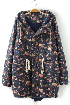 Floral Hooded Denim Coat - OASAP.com