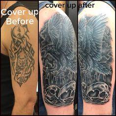 Cover up!  #tattoo #scottKautman #skottkautman #besttattoo #tattoooftheday #customtattoo #customink #cheyennethunder #cheyennehawk #cheyennetattoo #kingpintattoosupply  #eternalink #blackandgraytattoo #california #californiatattoo #pacificbeach #sandiego #funhousetattoo #pb #colortattoo #sandiegotattoo #horror #angels #lucifer  #coveruptattoo #coverup #raven #graveyard #pacificbeachlocals #sandiegoconnection #sdlocals #sandiegolocals - posted by Skott Kautman…