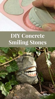 DIY Concrete Smiling Stones - Made By Barb - zippered toothy laughsHow to make Halloween teeth rocks – Recycled CraftsThis is so creepy, but I love it! How to make Halloween teeth rocks!I'm not sure what I think about these quirky smiling stones. Cement Art, Concrete Crafts, Concrete Art, Concrete Projects, Concrete Garden, Concrete Design, Concrete Planters, Concrete Casting, Concrete Molds
