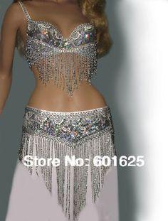 Venta al por mayor traje de danza del vientre ( bra + belt ) oro y plata blanco 3 colores #tf201, 34D / dd, 36D / dd, 38 / D / dd, 40B / C / d, 42D / DD(China (Mainland))