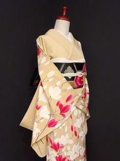 ■ガールズ■美品!!薄香*木蓮♪一つ紋訪問着 正絹袷 裄66丈174ロング - アンティーク着物や現代着物なら雅星本店