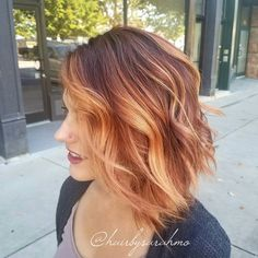 Wavy Mid-Length Dark Brown Hair with Pumpkin Spice Color