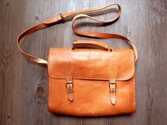 Vintage leather School SATCHEL MESSENGER BAG