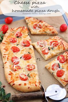 Cheese pizza with homemade pizza dough from Roxanashomebaking.com