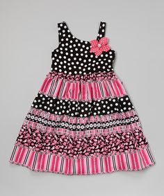 Look what I found on #zulily! Black & Pink Polka Dot Asymmetrical Dress - Girls by Youngland #zulilyfinds