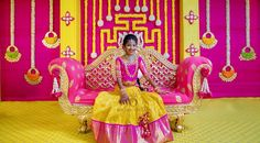 One of our fav combinations. The pretty girl is here seen in a kavithagutta meenam leh Marriage Decoration, Wedding Stage Decorations, Backdrop Decorations, Festival Decorations, Flower Decorations, Backdrops, Garland Decoration, Half Saree Function, Cradle Ceremony