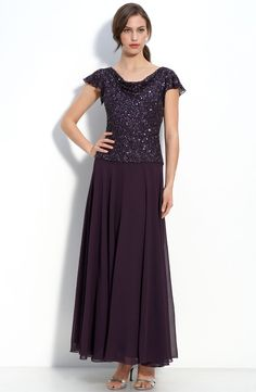d96d49e0af0 J Kara Beaded Mock Two Piece Chiffon Dress Mother Of Groom Dresses